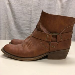 Forever 21 Cowgirl Boots Short Size 8 Brown
